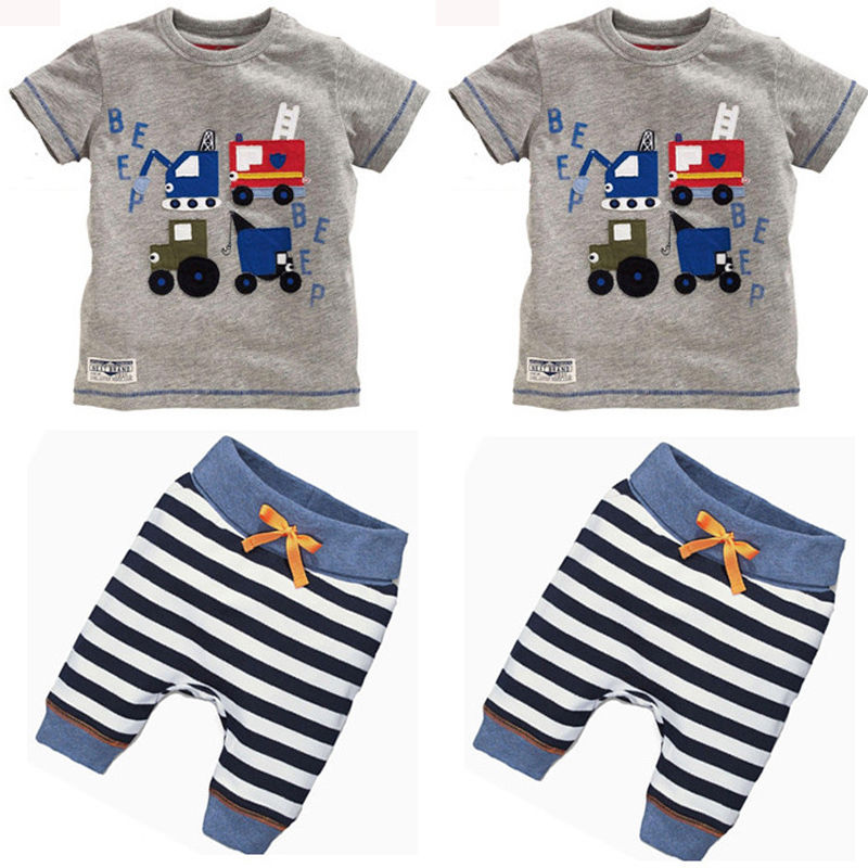 2Pcs/set New Baby Kids Boys Summer Clothes Short Sleeve T-shirt Top Striped Pants Children Clothing Set