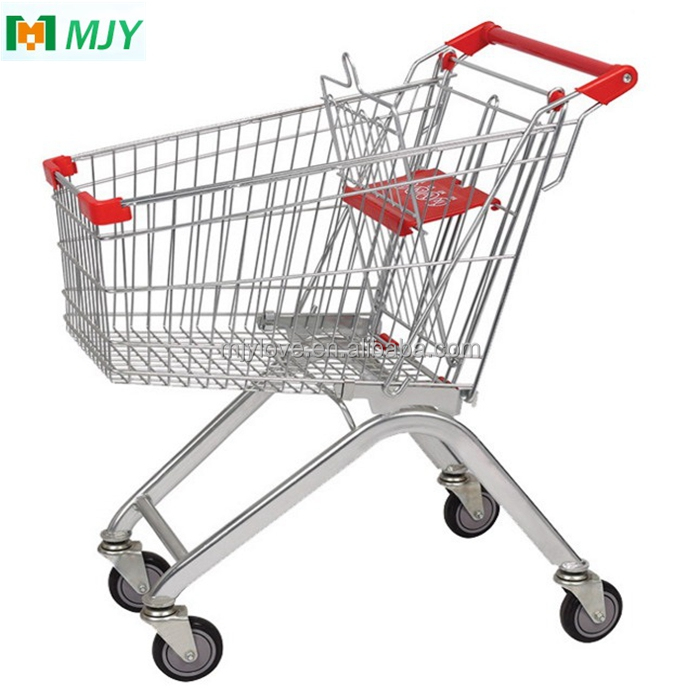 60 liters small supermarket chrome plated trolleys shopping trolley cart MJY-60BPU-2