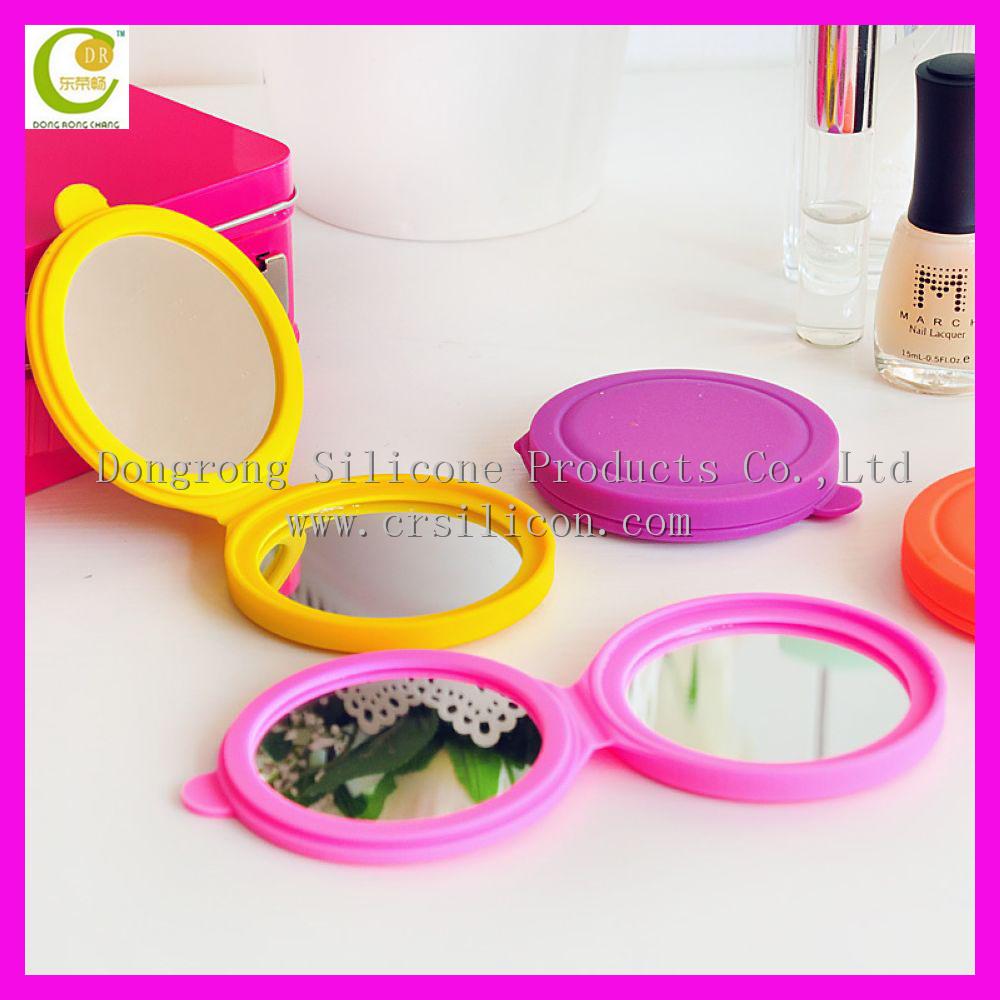 ronda azul extractor de doble cara espejo de maquillaje compacto de silicona irrompible venta caliente