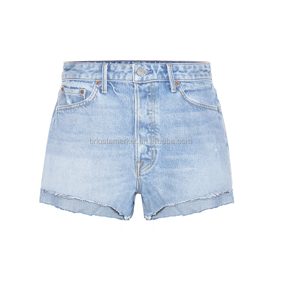 Wholesale Hot Sale Summer Women High Rise Jean Shorts