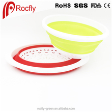 Large size foldable silicone draining basket/multi-usage egg shape vegetable and fruit basket