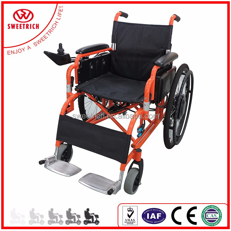 Folding electric wheelchair for handicapped use