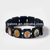 latest design jesus wood bead bracelet rosary bracelet saint bracelet