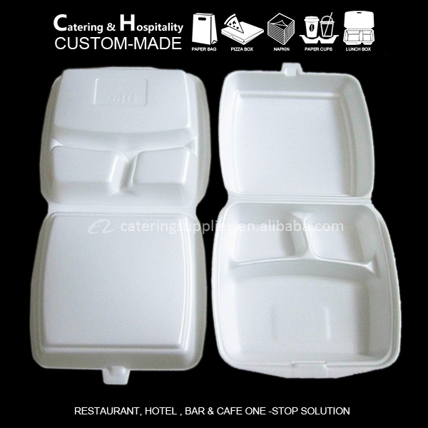 Disposable Polystyrene Greaseproof Foam Fast Food Containers/ foam boxes for food