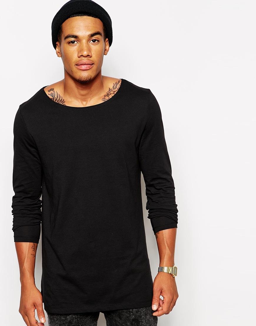 Black t shirt man - Men Long Sleeves Fashionable Plain Black T Shirt