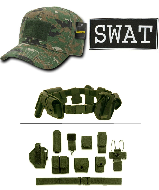 Woodland Digital Cap + ENFORCEMENT ID SWAT + Green Duty Belt Holster