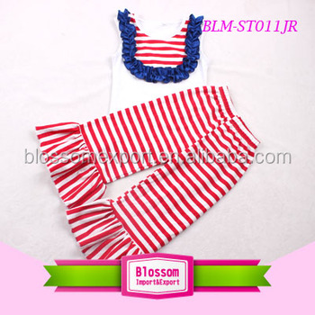 4th of July little girls summer clothes boutique red white stripes children clothes sets clothing capri suit for girls