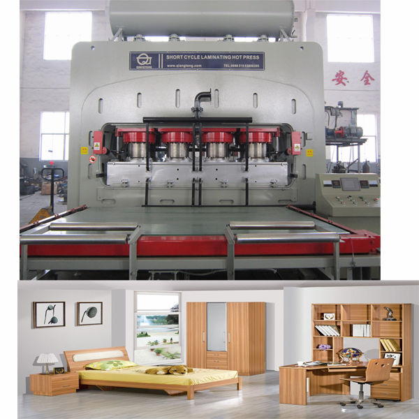 wood board melamine laminate hot press machine / furniture boards making machine