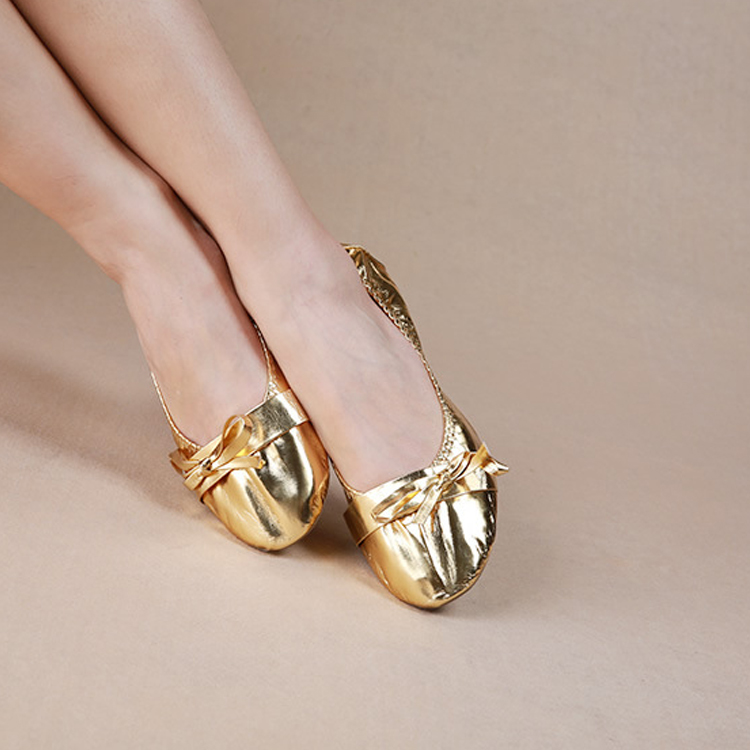 Wholesale Professional Rubber Anti-slip Sole Girls Gold Silver Practice Belly Dance Shoes