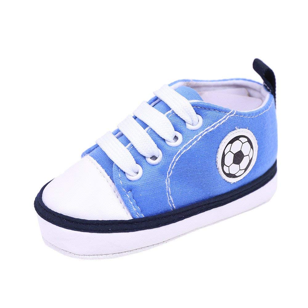 Jshuang Blue0-1 Years Old Baby Shoes New Canvas Shoes Baby Shoes Toddler Shoes, Newborn Infant Baby Football Print Sneaker Anti-Slip Soft Sole Toddler Canvas Shoes (Blue, 13)