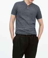 men short sleeve summer style button v-neck knit sweater