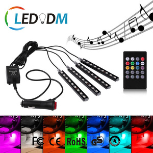 DC 12V Multicolor Music LED Car Interior Lights Under Dash Atmosphere Neon Light Strip