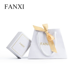 FANXI High Quality Wholesale Trapezoidal Design Paper Bag With Silk Ribbon Special Paper Jewelry Bag