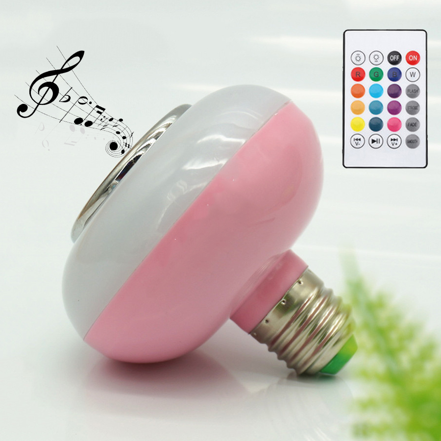 Multi color E27 led bluetooth light bulb speaker 12W base effect music bulb for home party rgbw  indoor party lighting lamp