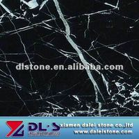 Polished black and white marble tile