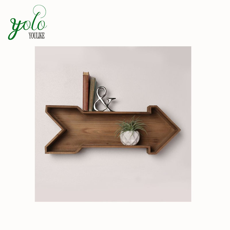 Wholesale 100% Natural Decorative Wall Shelf  Rustic Brown Arrow  With Hanging Hardware