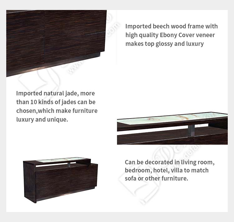 Luxury High End Imported Beech Wood Ebony Cover Jade Top Light Line TV Stand Table for Living Room