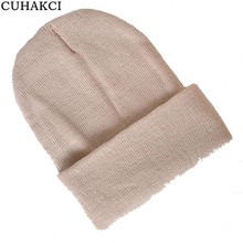 CUHAKCI New 2017 Autumn Winter Unisex Skull Beanie Hat Knitted Ski Cuffed Plain Color Warm Cap 28 Colors