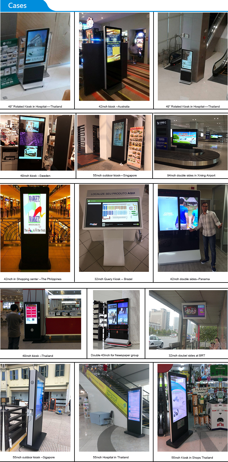 43 inch indoor Self Service All in one Touch Screen PC player All In One PC 6 Points Infrared Interactive digital signage kiosk
