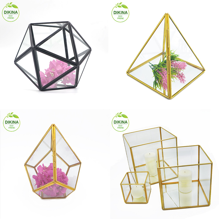 wedding favors and gifts trinket box Wholesale copper vase centerpieces/ handicraft hanging glassware geometric terrarium glass