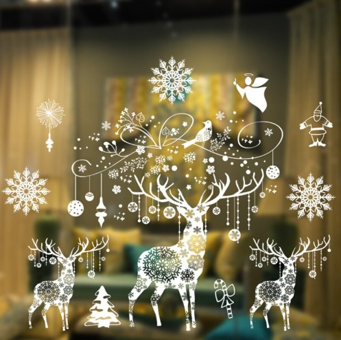 Custom Sticker Christmas Wall Home Room Decor Decoration Static Sticker