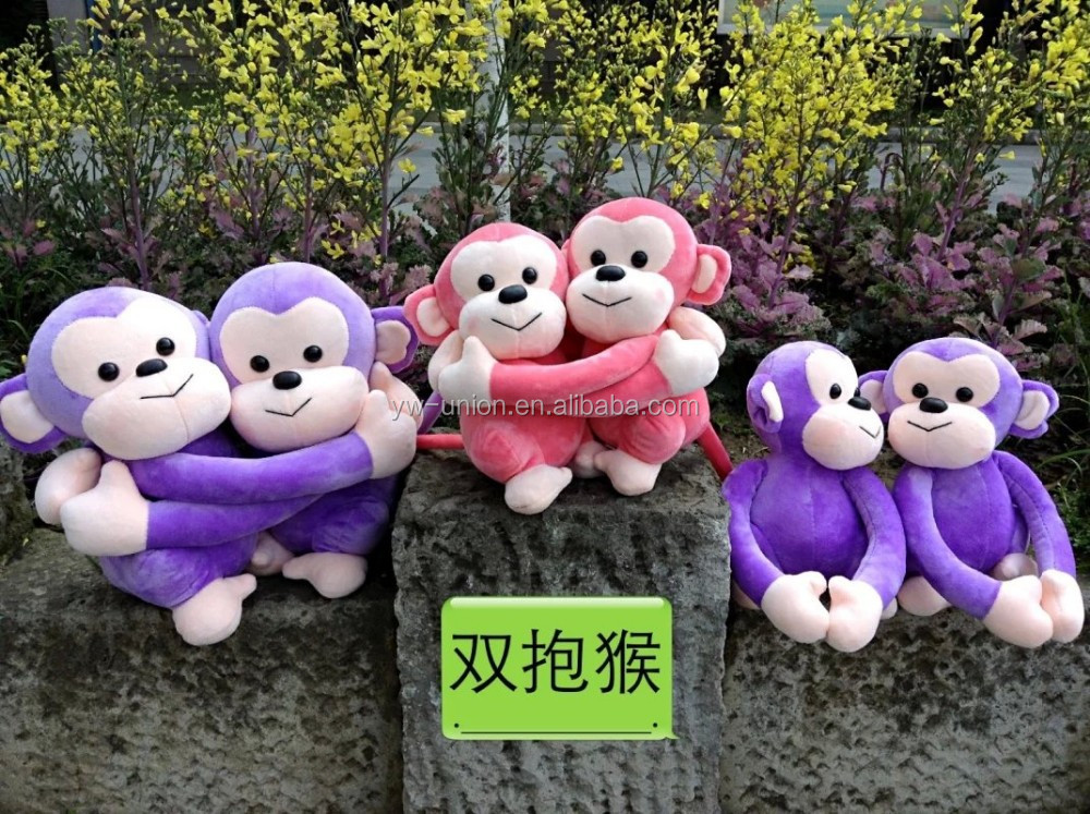 Purple soft monkey animals cover , pink plush big eyes toy monkey soft