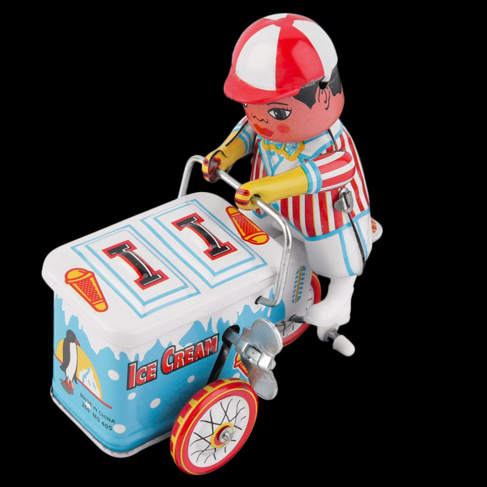 vintage car accessories Vintage Metal Tin Ice Cream Car Clockwork Wind Up  Tin Toy Collectible vintage