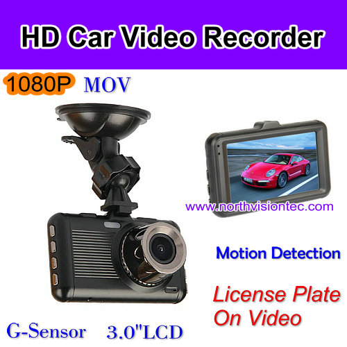 1080P full hd car dashboard camera with G-sensor function and 3.0inch lcd screen