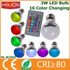 3w remote control 16 color rgb led bulb light