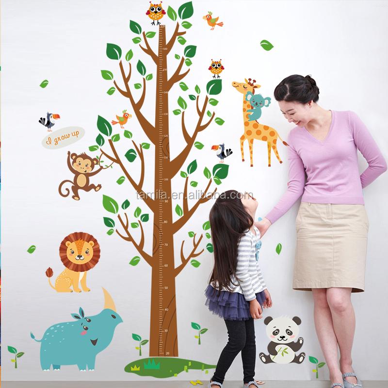 Kids Height Measurement Wall Sticker Growth Chart Cartoon Wall