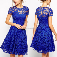 Wholesale 2016 evening designs knee length short clothes latest formal blue lace dress patterns for women