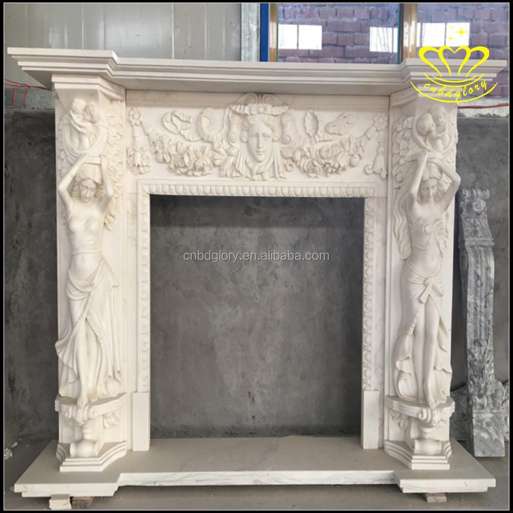 White Marble Fireplace Mantel Overmantel Elegant Decor Design