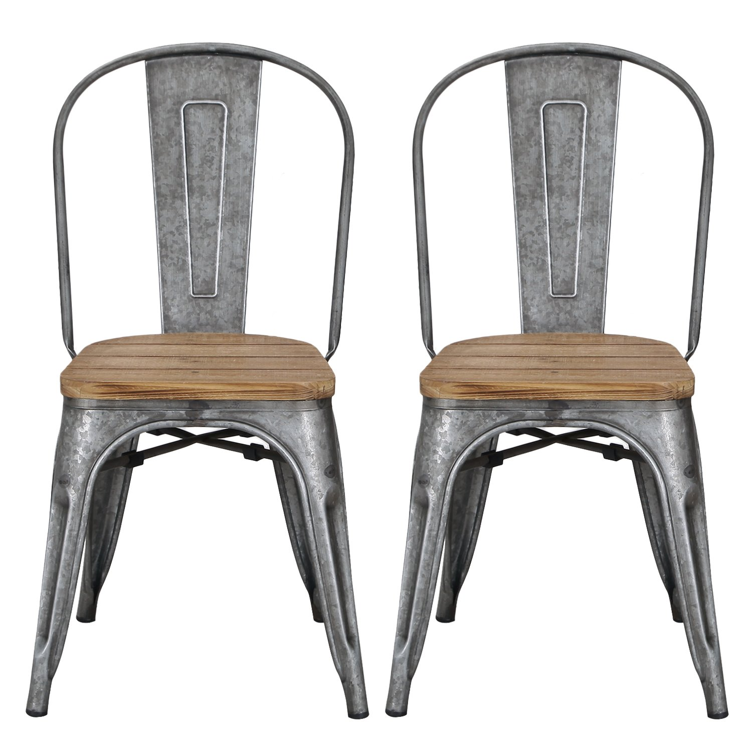 Get Quotations · Adeco Metal Stackable Industrial Chic Dining Bistro Cafe  Side Chairs With Wood Seat, Tan Bronze