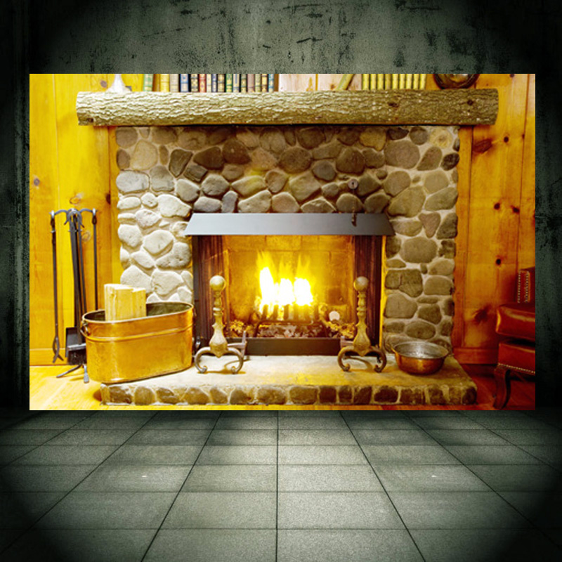 fireplace wall mural wall sticker personalized decal for wall decor home decor christmas holiday. Black Bedroom Furniture Sets. Home Design Ideas