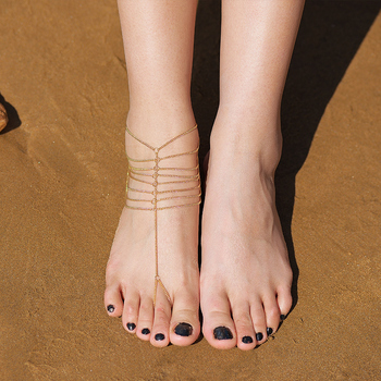 Gold Color layer Chain Anklet Indian Sexy Leg Ankle Wedding Beach Jewelry Accessories