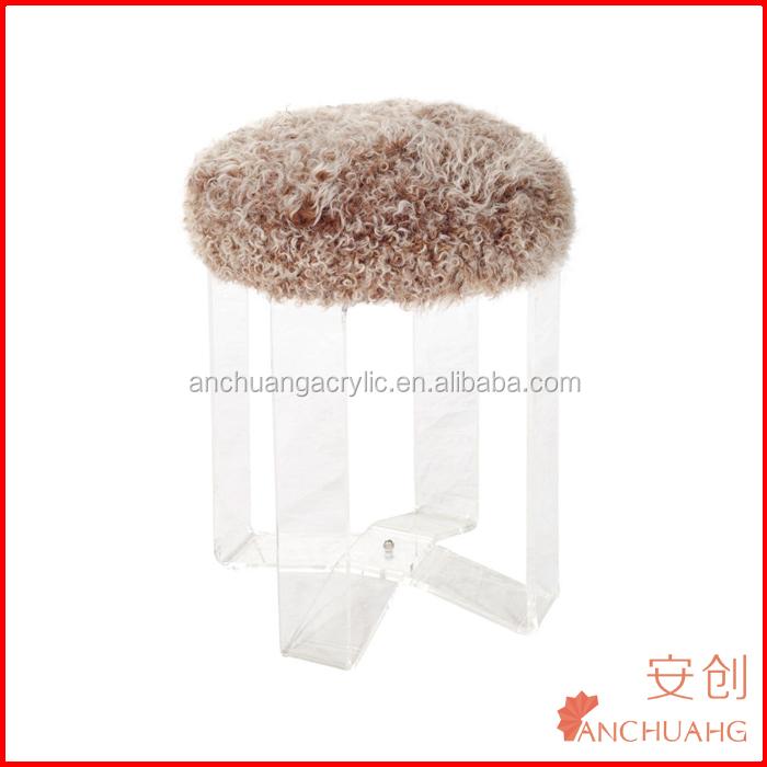 Natural White Mogolian Lamb Fur Stool With Lucite Legs