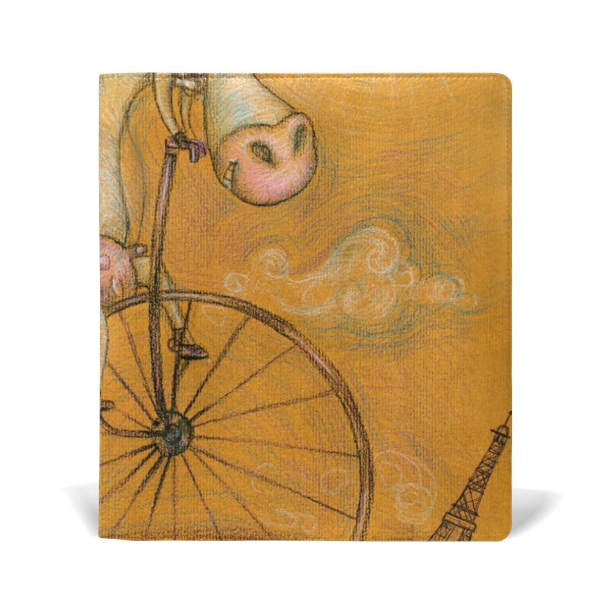 Sunlome Vintage Cute Cow On The Bicycle Pattern Stretchable PU Leather Book Cover 9 x 11 Inches Fits for School Hardcover Textbooks