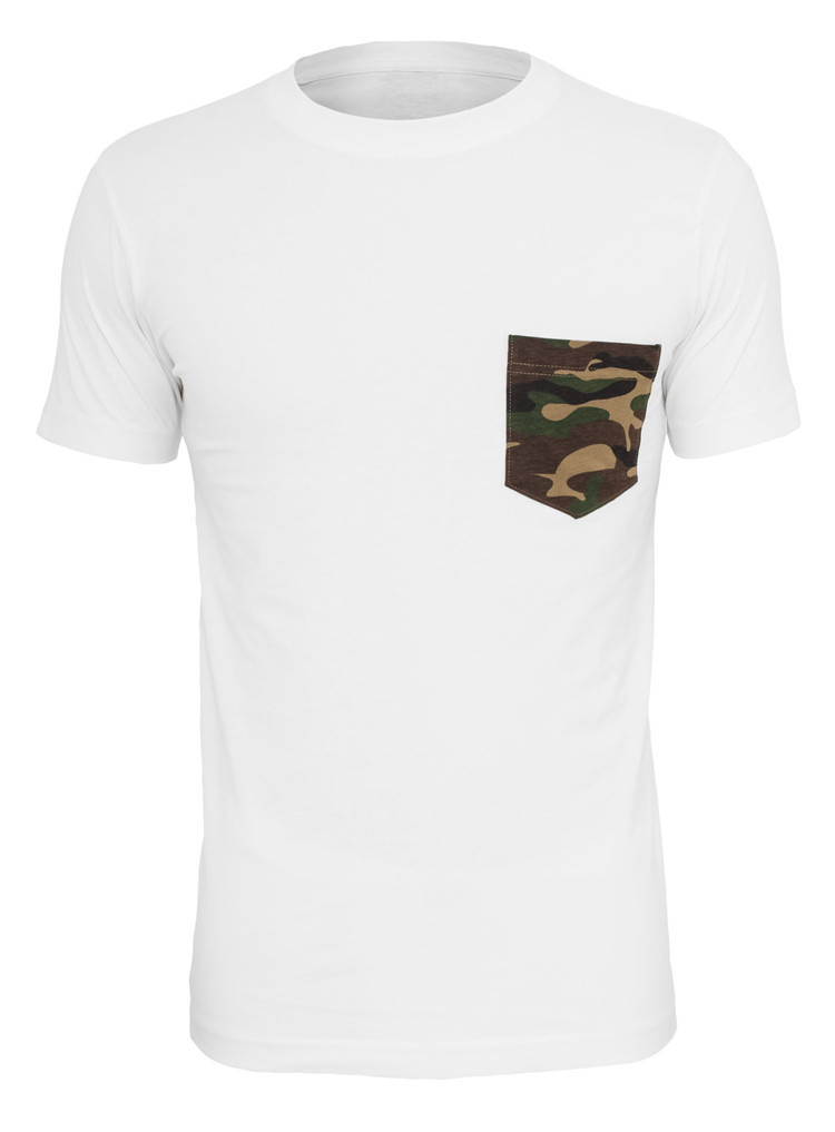 Camo Pocket Design Witn White Color Wholesale T Shirts Cheap T