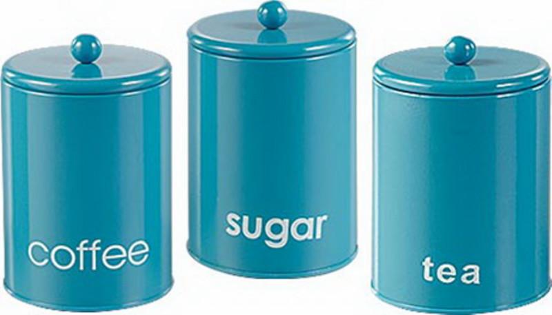 3 Set Kitchen Canister Storage Tea Coffee Sugar Jars Red