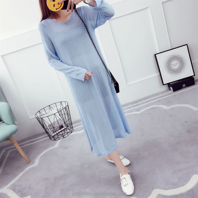 Dress For Women 2018 Summer Light Blue Sun Protection Clothing Women Round Neck T-Shirt Design Normal Blouse
