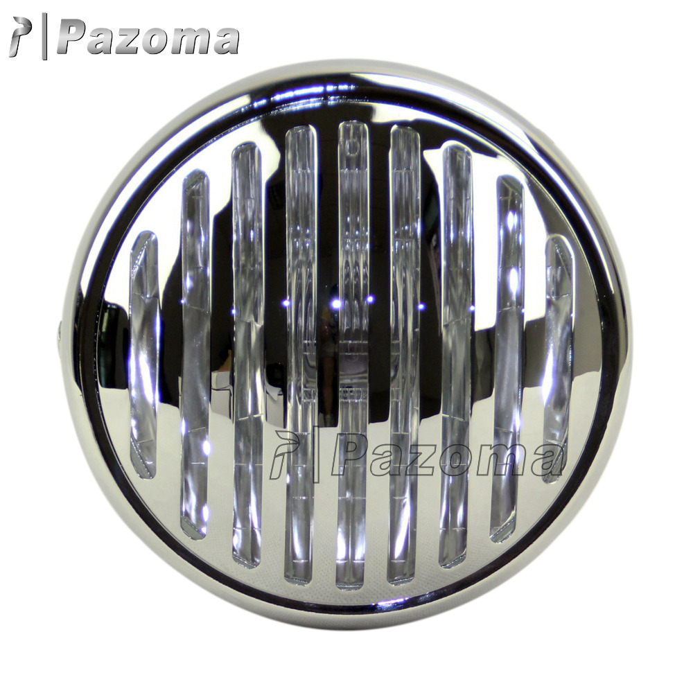 Newest Pazoma Chrome Motorcycle Bullet Headlight With Grill Cover For Harley Sportster XL883 1200 04-14