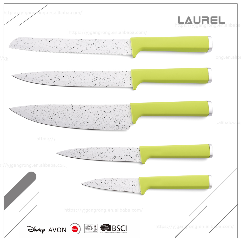 Cheap price 1.8mm blade thickness marble coating PP swiss kitchen knife