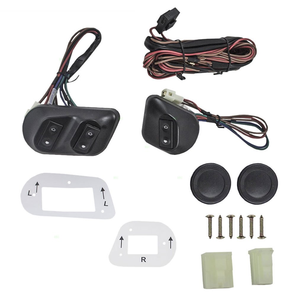 Get Quotations · Universal Joker Style Electric Power Window Roll Up Switch  Kit Angled Design with Bezels, Switch
