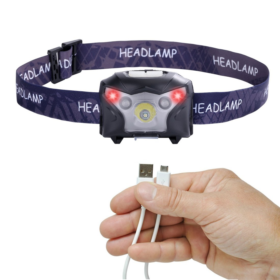 USB Rechargeable LED Headlamp Flashlight, Super Bright White Led and Red Light, Waterproof, Comfortable, Perfect Headlamps for Running, Walking, Camping, Reading, Hiking, Kids