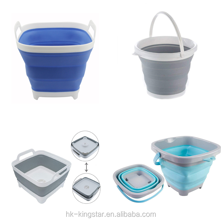 Plastic Collapsible bucket household Multifunctional Portable Foldable Travel Outdoor Wash bucket Camping