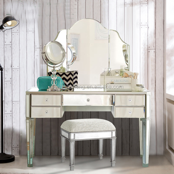 Champagne Silver Wooden Glass Mirrored Dressing Table With Mirror ...