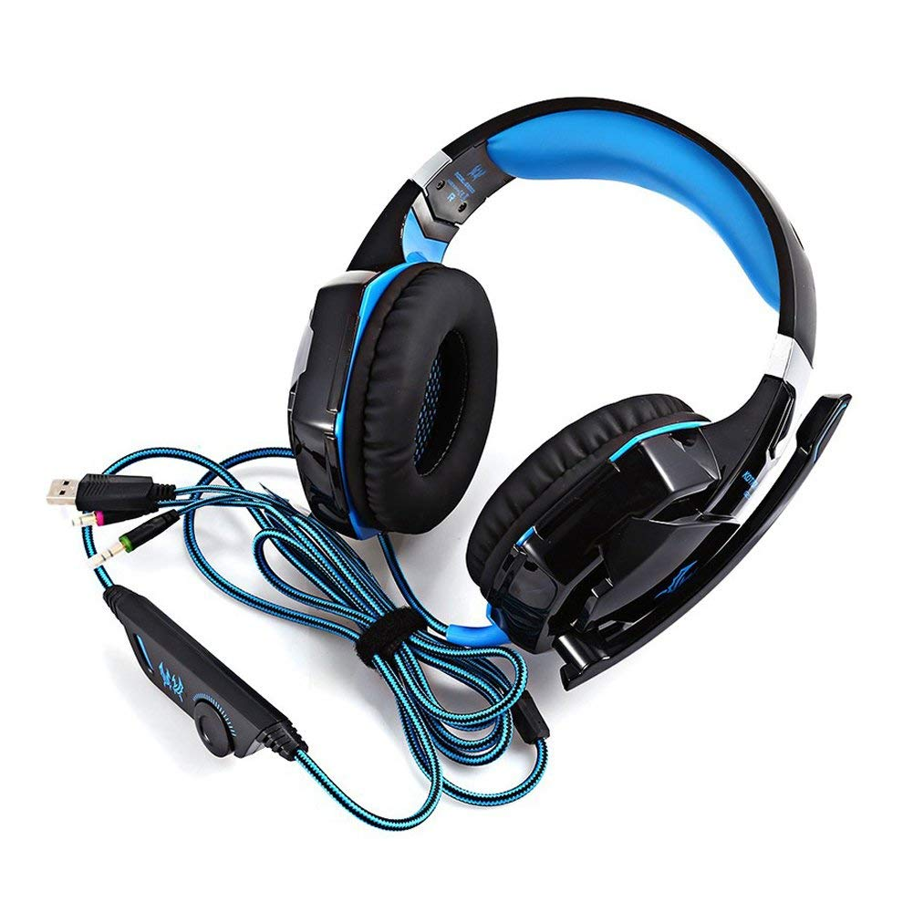 KOTION G2000 3.5mm PC Tablet Gaming Stereo Noise Canelling Headset LED Game Headphone, Volume Control MIC, Black+blue