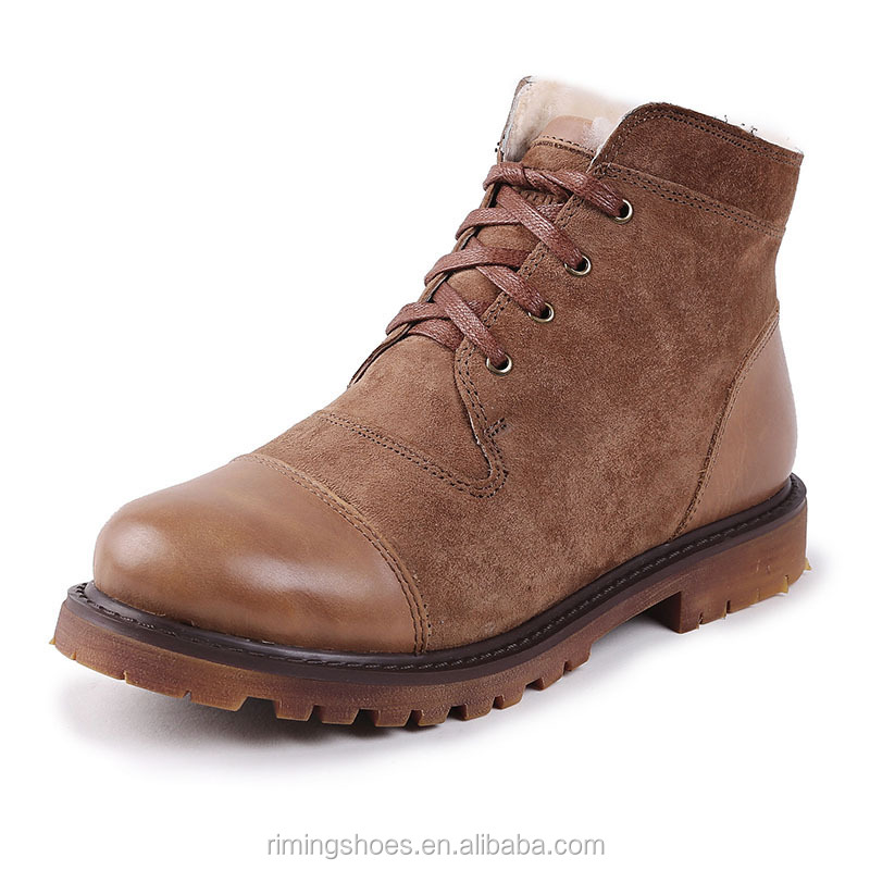 Guangzhou footwear sheepskin genuine leather ladies shoes snow martin <strong>boots</strong> for women