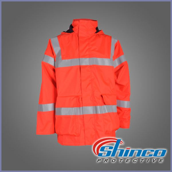 heavy cotton high visibility winter traffic police jacket