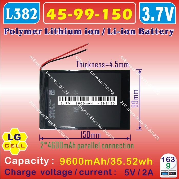 [ L382 ] 3.7 В, 9600 мАч, [ 4599150 ] PLIB ( полимер литий-ионный / литий-ионный аккумулятор / LG сотовых ) для планшет пк ; ONDA v971, V972 четырехъядерный процессор